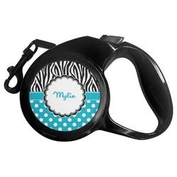 Dots & Zebra Retractable Dog Leash - Multiple Sizes (Personalized)
