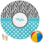 Dots & Zebra Round Beach Towel (Personalized)