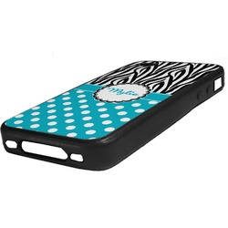 Dots & Zebra Rubber iPhone Case 4/4S (Personalized)