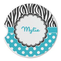 Dots & Zebra Sandstone Car Coasters (Personalized)