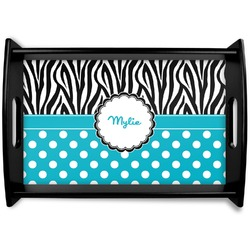 Dots & Zebra Black Wooden Tray (Personalized)