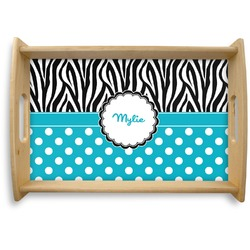 Dots & Zebra Natural Wooden Tray (Personalized)
