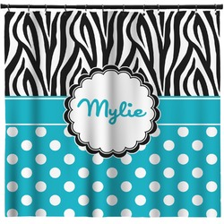 Dots & Zebra Shower Curtain (Personalized)