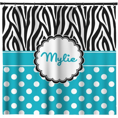 Dots Zebra Shower Curtain Personalized
