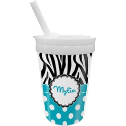 Dots & Zebra Sippy Cup with Straw (Personalized)