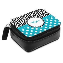 Dots & Zebra Small Leatherette Travel Pill Case (Personalized)