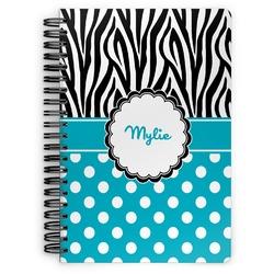 Dots & Zebra Spiral Bound Notebook - 7x10 (Personalized)