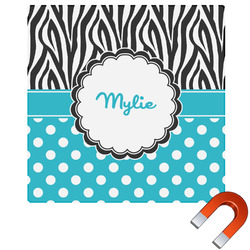 Dots & Zebra Square Car Magnet (Personalized)