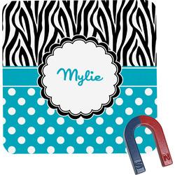 Dots & Zebra Square Fridge Magnet (Personalized)