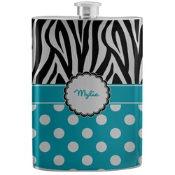 Dots & Zebra Stainless Steel Flask (Personalized)