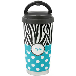 Dots & Zebra Stainless Steel Travel Mug (Personalized)