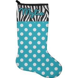 Dots & Zebra Christmas Stocking - Neoprene (Personalized)