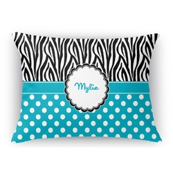Dots & Zebra Rectangular Throw Pillow Case (Personalized)