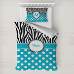Dots & Zebra Toddler Bedding w/ Name or Text