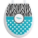 Dots & Zebra Toilet Seat Decal (Personalized)