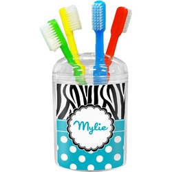 Dots & Zebra Toothbrush Holder (Personalized)