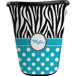 Dots & Zebra Waste Basket - Double Sided (Black) (Personalized)