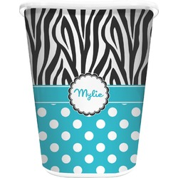 Dots & Zebra Waste Basket - Single Sided (White) (Personalized)