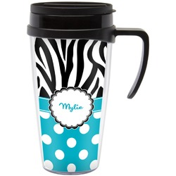 Dots & Zebra Travel Mug with Handle (Personalized)