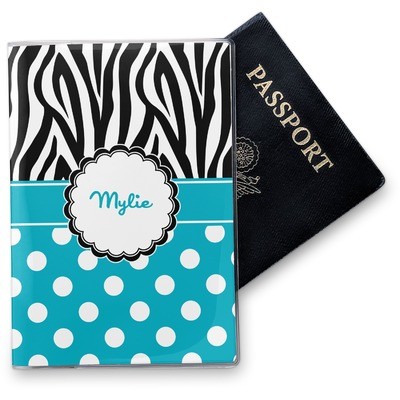 Dots & Zebra Vinyl Passport Holder (Personalized)