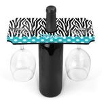 Dots & Zebra Wine Bottle & Glass Holder (Personalized)