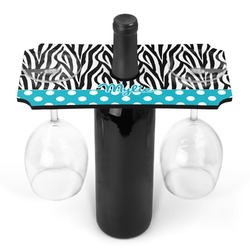 Dots & Zebra Wine Bottle & Glass Holder (Personalized)