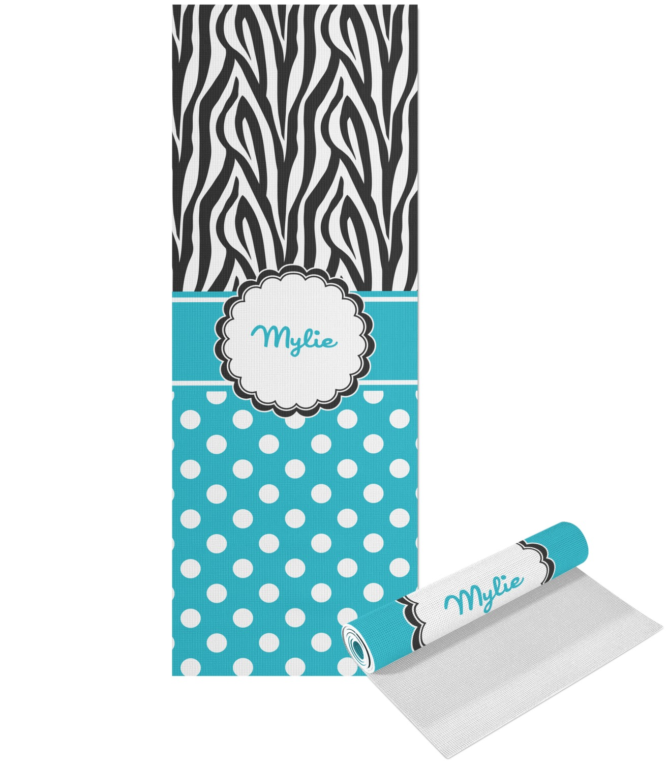 Dots & Zebra Yoga Mat - Printed Front (Personalized