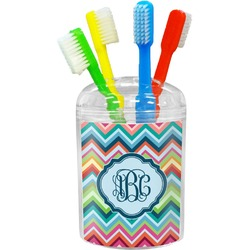 Retro Chevron Monogram Toothbrush Holder (Personalized)