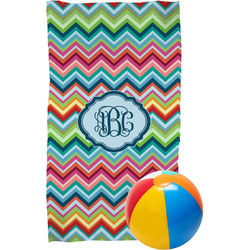 Retro Chevron Monogram Beach Towel (Personalized)