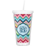 Retro Chevron Monogram Double Wall Tumbler with Straw (Personalized)