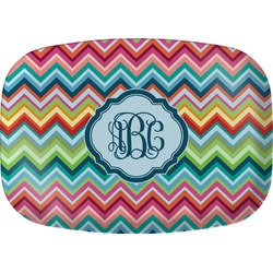 Retro Chevron Monogram Melamine Platter (Personalized)
