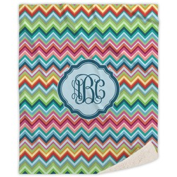 Retro Chevron Monogram Sherpa Throw Blanket (Personalized)