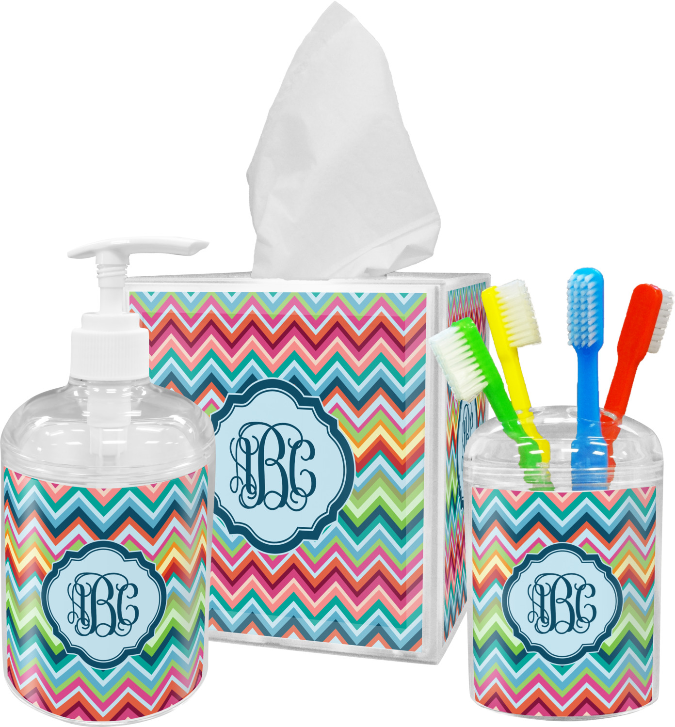 Chevron Monogram Bathroom Accessories