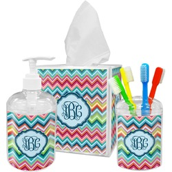 Retro Chevron Monogram Bathroom Accessories Set (Personalized)