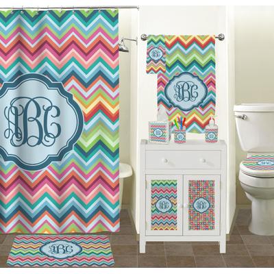 Monogrammed Chevron Retro Patterns Themes For Girls Bathroom Towels