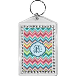 Retro Chevron Monogram Bling Keychain (Personalized)
