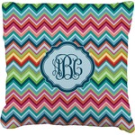 Retro Chevron Monogram Faux-Linen Throw Pillow (Personalized)