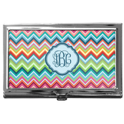 Retro Chevron Monogram Business Card Case