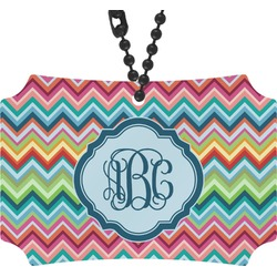 Retro Chevron Monogram Rear View Mirror Ornament (Personalized)