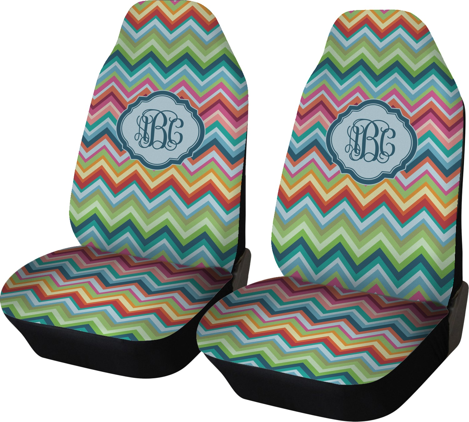 Retro Chevron Monogram Car Seat Covers Set Of Two Personalized