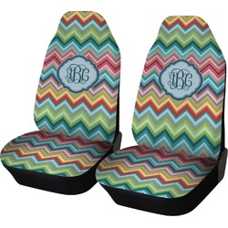 Retro Chevron Monogram Car Seat Covers (Set of Two) (Personalized)