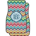 Retro Chevron Monogram Car Floor Mats (Front Seat) (Personalized)