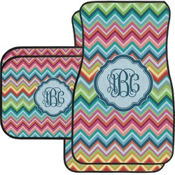 Retro Chevron Monogram Car Floor Mats Set - 2 Front & 2 Back (Personalized)