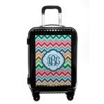 Retro Chevron Monogram Carry On Hard Shell Suitcase (Personalized)