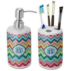 Retro Chevron Monogram Bathroom Accessories Set (Ceramic) (Personalized)