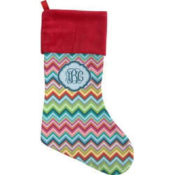 Retro Chevron Monogram Christmas Stocking (Personalized)