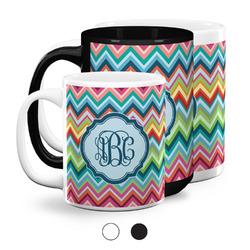 Retro Chevron Monogram Coffee Mugs