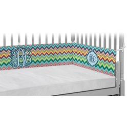 Retro Chevron Monogram Crib Bumper Pads (Personalized)