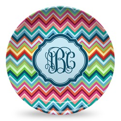 Retro Chevron Monogram Microwave Safe Plastic Plate - Composite Polymer (Personalized)