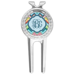 Retro Chevron Monogram Golf Divot Tool & Ball Marker (Personalized)